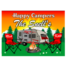 Pull Behind Camper Sunset with Camping Chairs Camping Sign