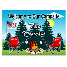 Red Camping Chairs Camping Sign with American Flag