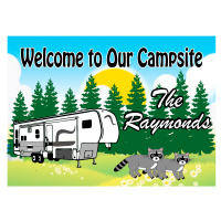 5th Wheel with Raccoons Camping Sign