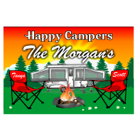 Popup Camper Sunset with Camping Chairs Camping Sign